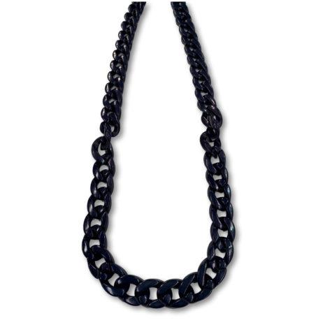 Archer Linked Chain Necklace Dark Navy